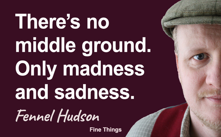 There is no middle ground, only madness and sadness. Fennel Hudson author quote.