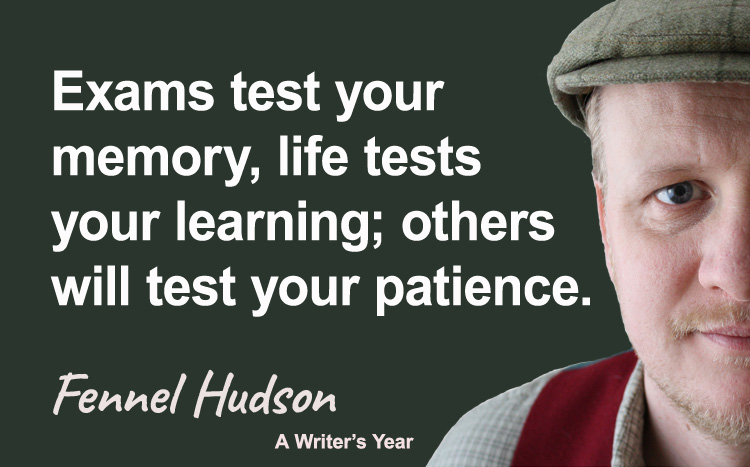 Fennel Hudson author quote, a writer's year, Exams test your memory